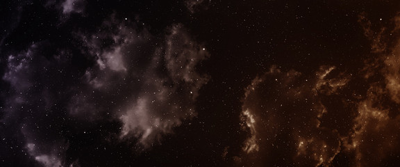 Space panorama with nebula and galaxy.
