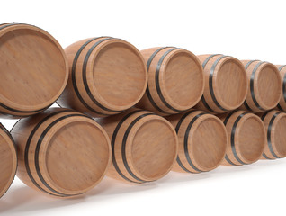 Wooden barrels for alcoholic drinks of beer, wine, rum, whiskey