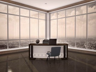 3d illustration of modern workplace in the office with windows a