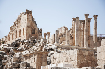 Temple of Artemis in the ancient Roman city of Jerash, preset-day Jerash, Jordan