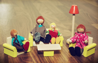 Family of the wooden figures