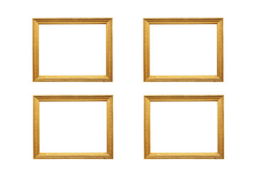 Set of 4 gold picture frames Isolated on white background
