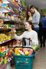 female purchasing food