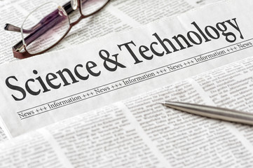 A newspaper with the headline Science and Technology