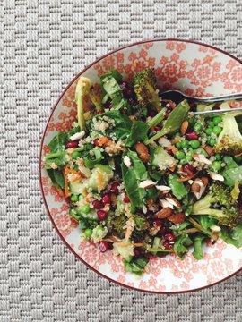 Quinoa salad with roasted broccoli and pomegranate