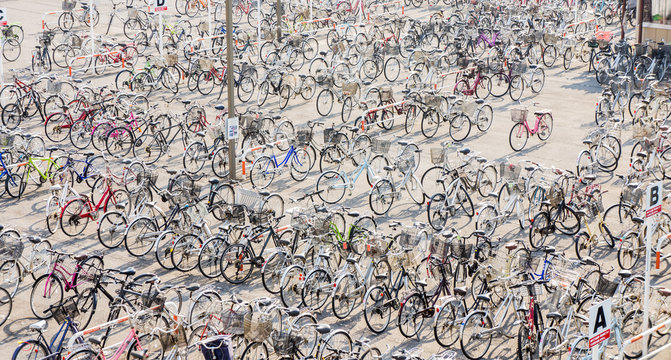 bicycle parking lot near train station in Japan