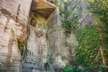 Hundred shaku kannon large engraving buddha on the cliff in Chiba Japan
