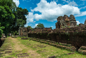 sight of one of the platforms of the archaeological place of the oriental mebon in siam reap, cambodia