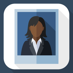 Picture of a black woman in a business suit with long shadow
