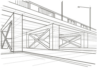 Linear architectural sketch overhead road