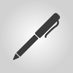 The pen and ballpoint icon. Writing symbol. Flat