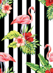 flamingo, hibiscus and plants striped pattern