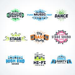 Sixth set music equalizer emblem vector on light background
