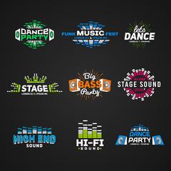 Sixth set music equalizer emblem vector on dark background
