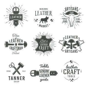 Second set of grey vector vintage craftsman logo designs, retro