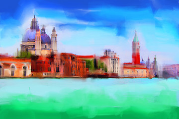 Venice handmade painting illustration on a white paper art background