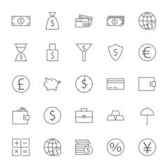 Money Finance Banking Big Icons Set