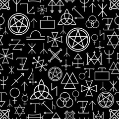 Mystical seamless pattern on black background