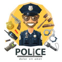 police, law, constabulary vector logo design template