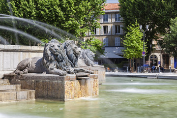 Lions of Fountain at La Rotonde in Aix-en-Provence