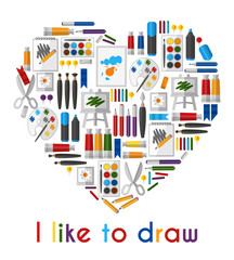I like to draw. Heart of pencils and paintbrushes