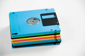 Floppy Disk magnetic on white background.