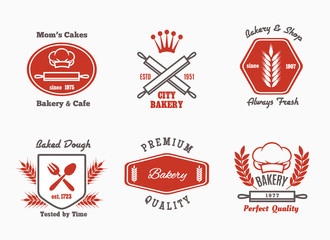 Bakery cafe bistro logo set