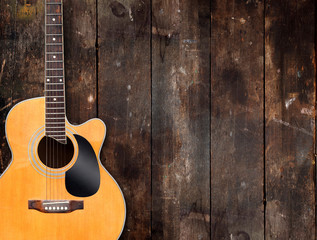 Acoustic Guitar on Rustic Background
