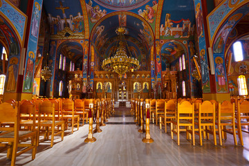 Interior of a Greek orthodox church in Nafpaktos village in Western Greece