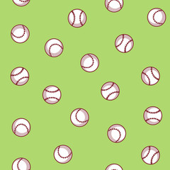 Baseball seamless pattern on a green background
