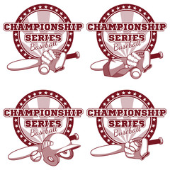 Logo for the baseball tournament with elements of equipment