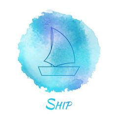 Sea Ship Marine Vector Watercolor Concept