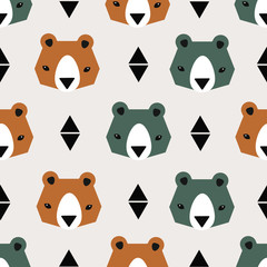Seamless vector pattern with cute bears
