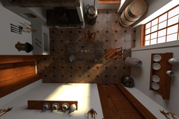 3d render of luxury manor interior - kitchen