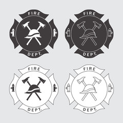 Fire department logo with helmet and axes