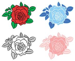 4 roses design vector.