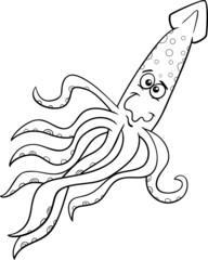 squid cartoon coloring page