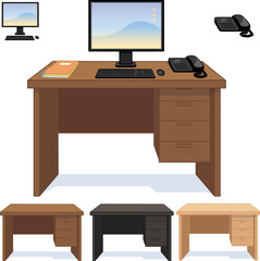 Wooden desk with computer telephone and papers