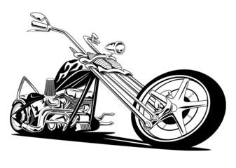 Custom American Chopper Motorcycle, Black on White Vector Illustration