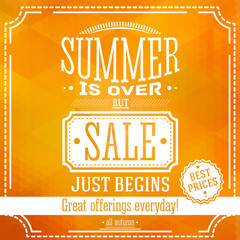 Summer is over but sale just begin banner. For this fall sales