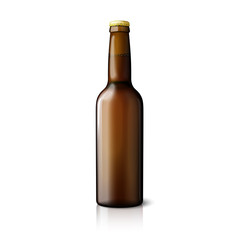 Blank brown realistic beer bottle isolated on white background