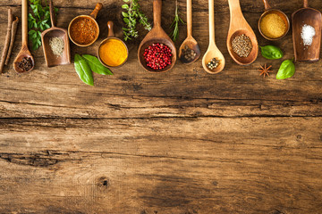 Foto op Plexiglas Kruiden Colorful spices on wooden table