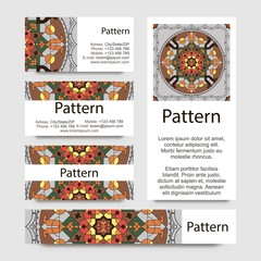 Business cards pattern with Islamic persian ornament. Includes seamless pattern