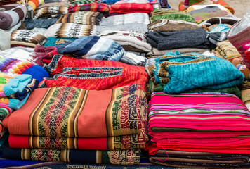 Fabrics on Traditional Market on Andes Civilization