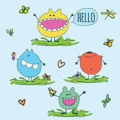 Set of cute monsters i