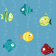 Seamless children pattern with variety blue, yellow, red fish with  circle, drops and stripes on a blue background with bubbles Vector illustration eps 10