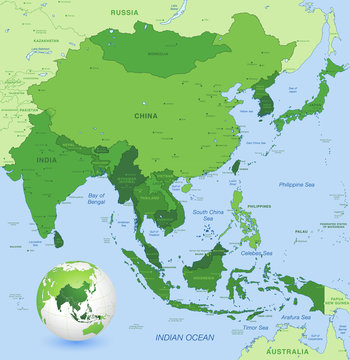 High detail vector map of far east Asia