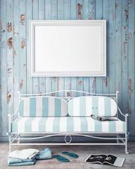 mock up poster frame in summer concept