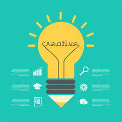 Creative idea vector illustration with lamp, pencil, info-graphic, icons.
