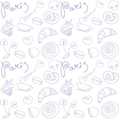 Vector hand drawn background with Paris food symbols and doodle design elements. Seamless pattern.